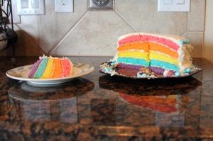 rainbow GF cake